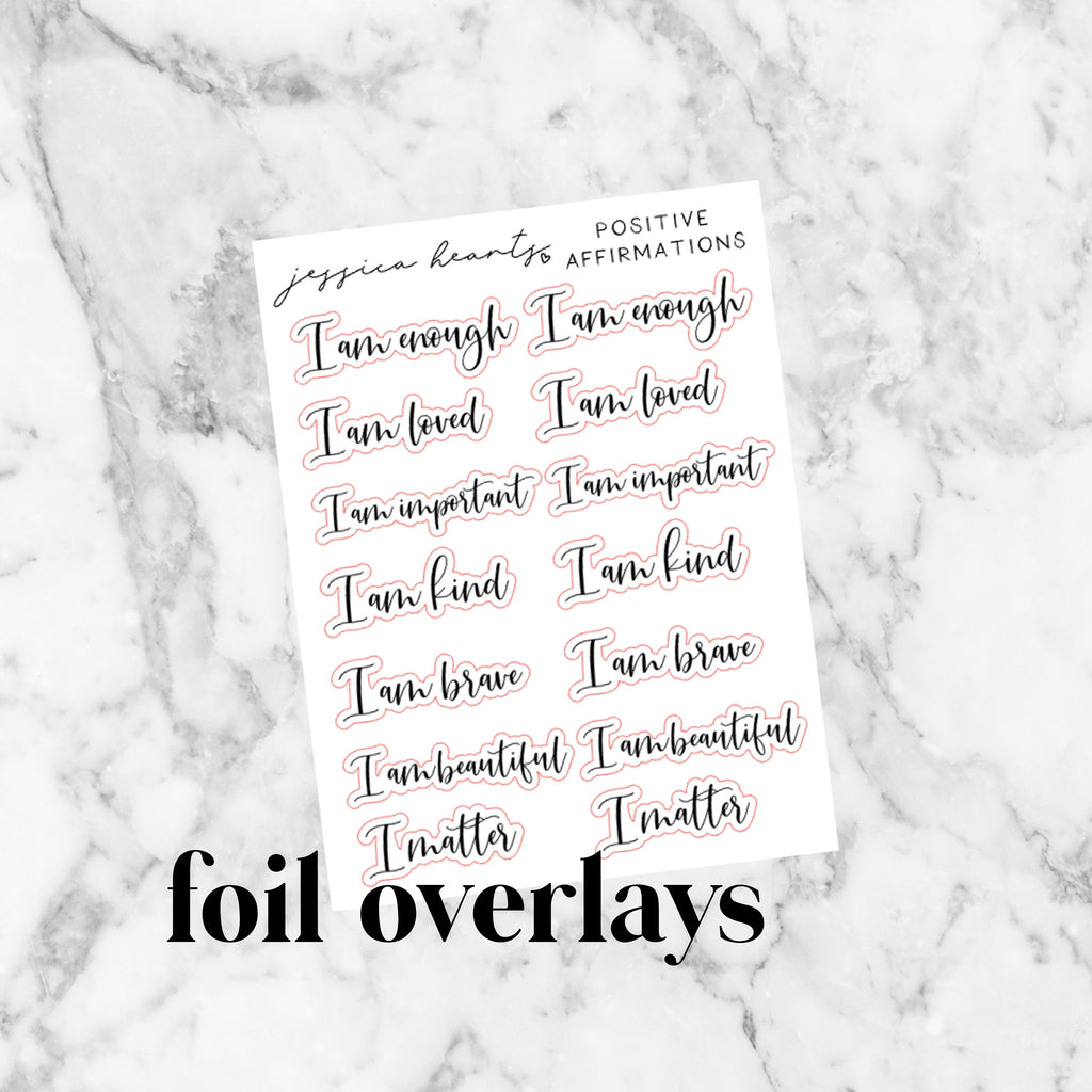 Positive Affirmations Script Foil Stickers (Transparent)