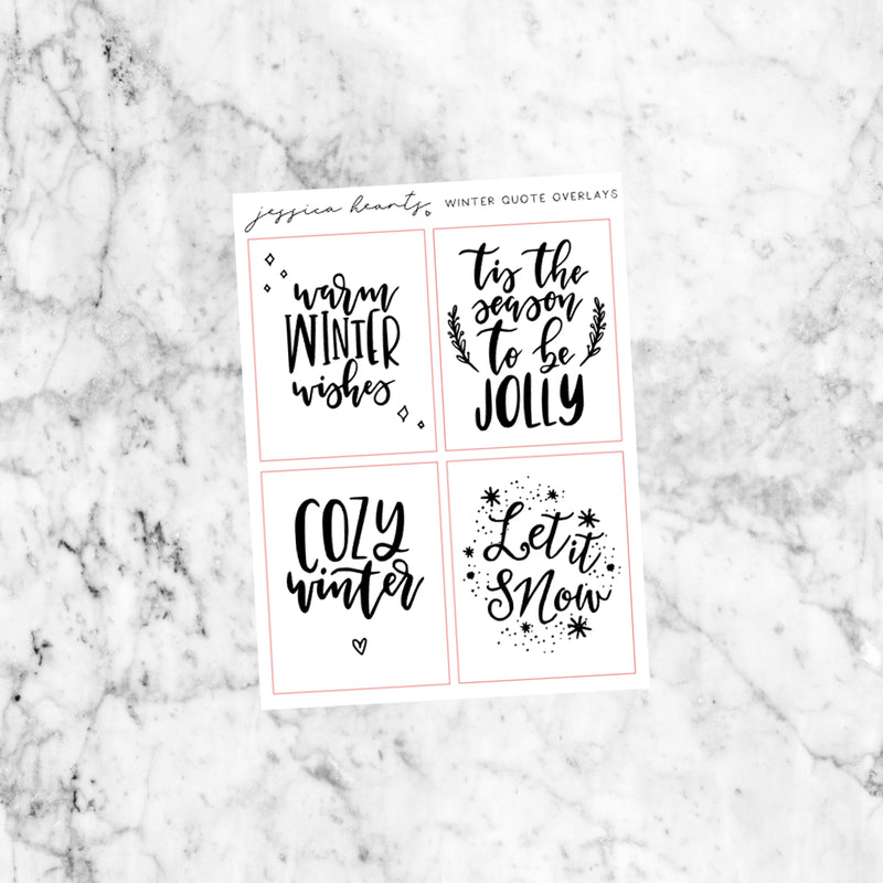 Winter Quote Foil Icon Stickers (Transparent)