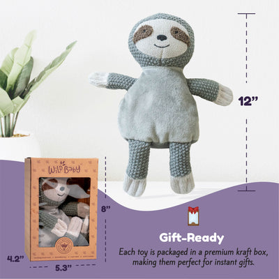 Microwave Plush Pal with Hot Cold Therapy Pack - Knit Sloth