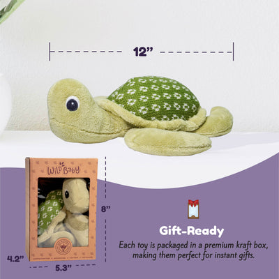Microwave Plush Pal with Hot Cold Therapy Pack - Knit Turtle