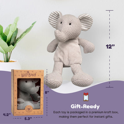 Microwave Plush Pal with Hot Cold Therapy Pack - Knit Elephant