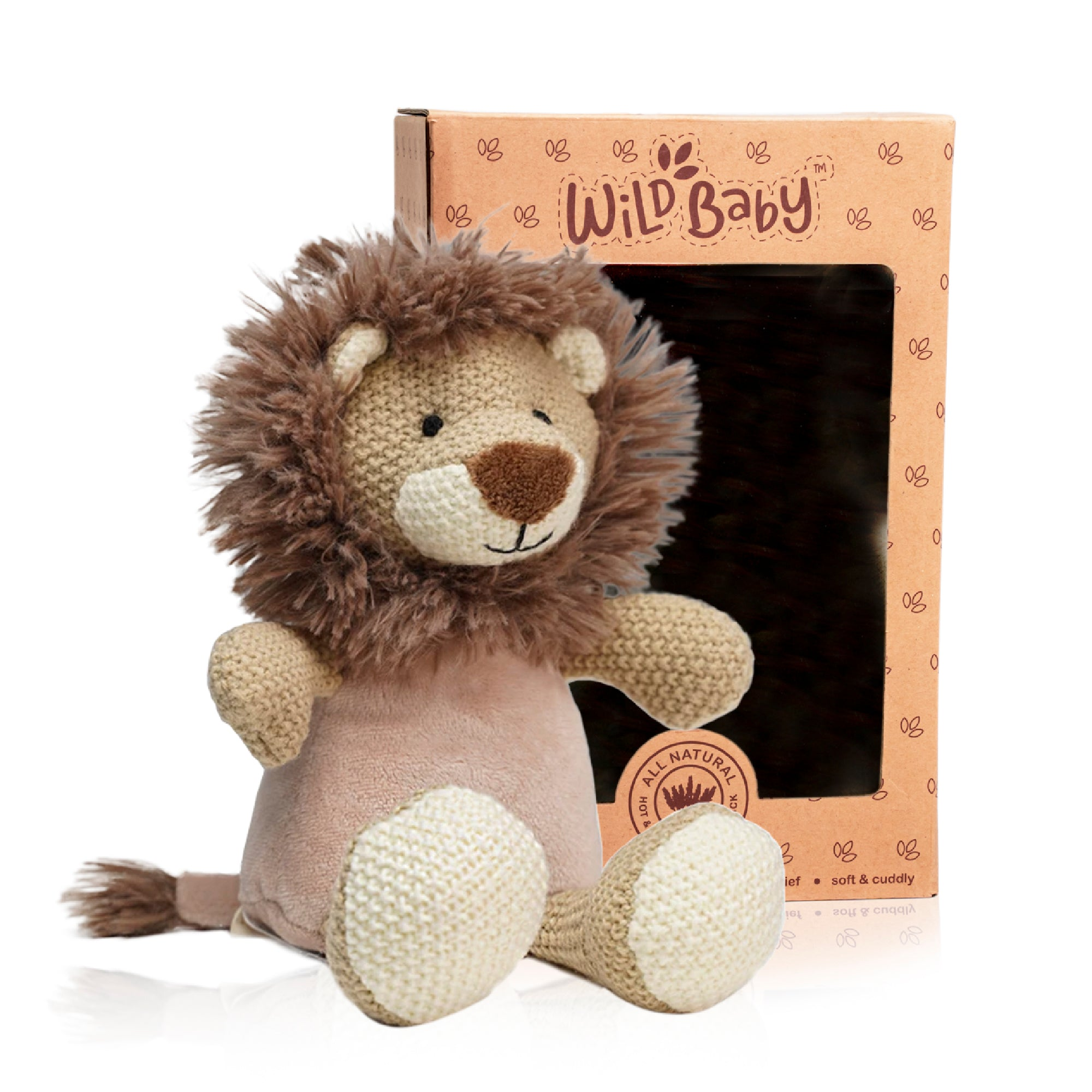 Microwave Plush Pal with Hot Cold Therapy Pack - Knit Lion