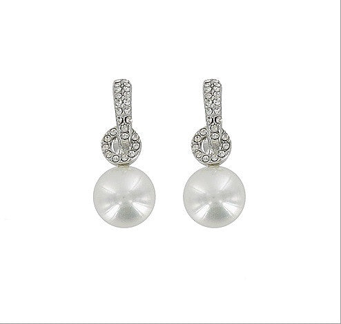 Crystal Stone And Pearl Charm Earring