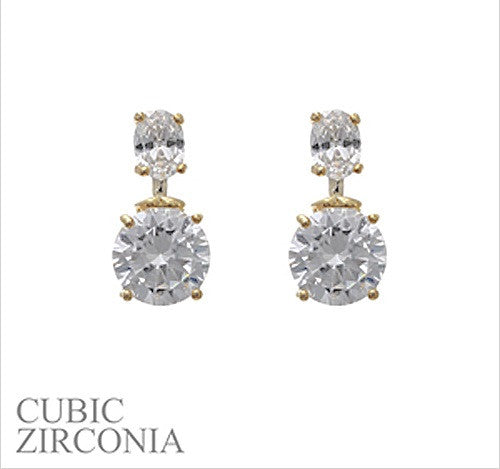 Cz Oval Round Earring