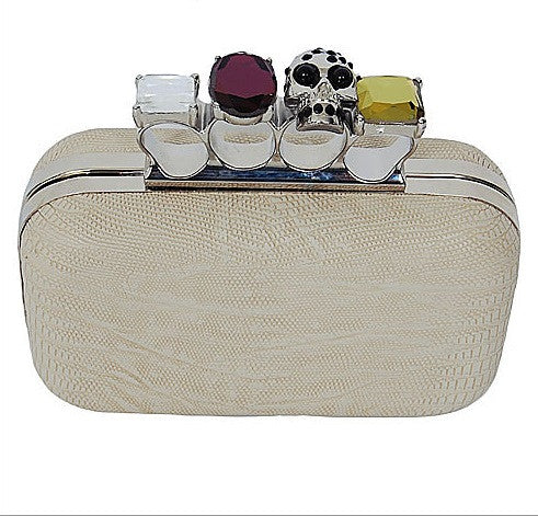Skull & Stone Accent Knuckle Handle Clutch