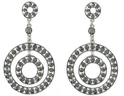 Designer Look Circle W Crystal Earring