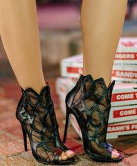 "Etta Mesh & Leather Booties 3"" Heel"