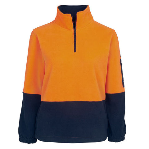 LADIES HI VIS 1/2 ZIP POLAR FLEECY