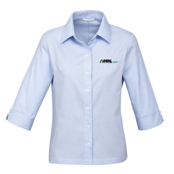 TECHNOLOGY SOLUTIONS LADIES SHIRT LIGHT BLUE - 3/4 SLEEVE