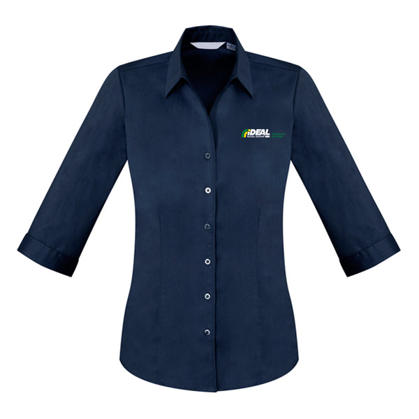 TECHNOLOGY SOLUTIONS LADIES SHIRT NAVY - 3/4 SLEEVE