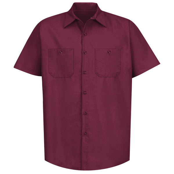MENS WORK SHIRT CLOTHING UNIFORM BURGUNDY