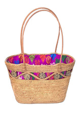 handwoven Bali basket purse lined in  batik fabric main
