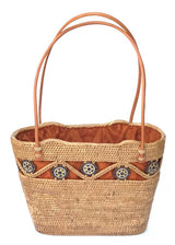 handwoven Bali basket purse lined in solid brown fabric top view