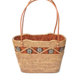 handwoven Bali basket purse lined in solid brown fabric main