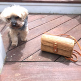 Leandra Crossbody Bali Woven Purse With Yorkie