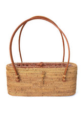 Samar handwoven Bali basket purse with carved turtle front view