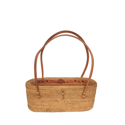 Samar handwoven Bali basket purse with carved turtle front