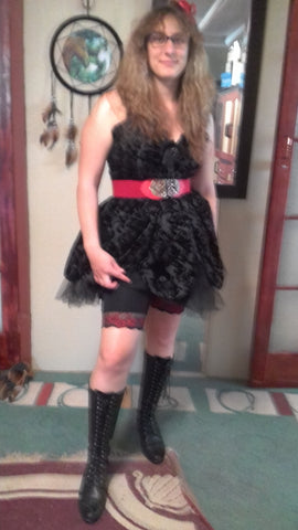 Customer wearing Black with red lace trim anti-chafing shorts by Miss Monroes.com under dress that prevents thigh or leg chafing in summer made in Australia