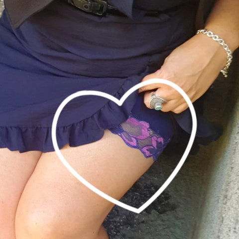 Customer wearing Miss Monroes Navy and pink anti-chafe shorts under Navy dress