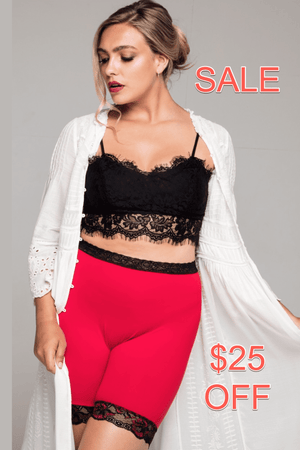 Miss Monroes 08-10 - Read Sale conditions below / Mid SALE 'Bella Rouge'<br> (MID LEG)<br> Anti Chafing Shorts