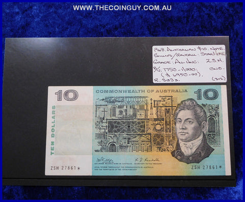 1968 Australian Ten Dollar Notes Au- Unc STAR Note