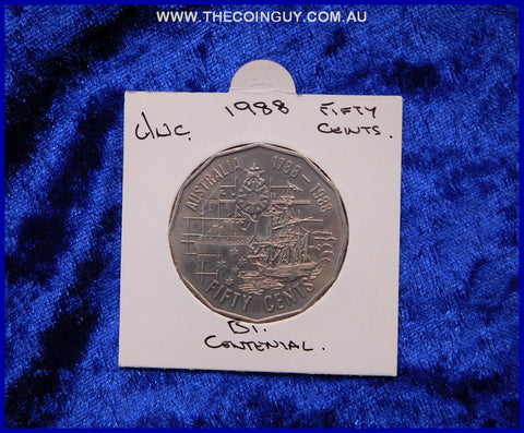 1988 Australian Fifty Cent Coins Unc