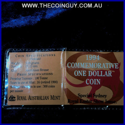 1994 Australian $1 Commemorative Sydney Royal Easter Show Issue In Plastic Pouch Carded Specimen