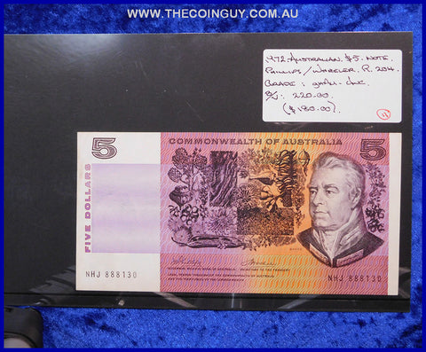 1972 Australian Five Dollar Notes ghAu-Unc