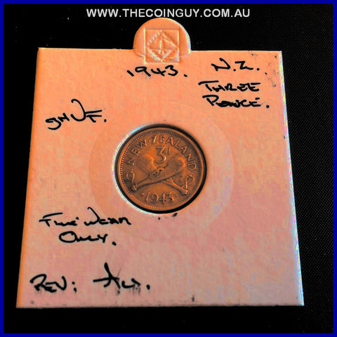 1943 New Zealand Three Pence ghVF