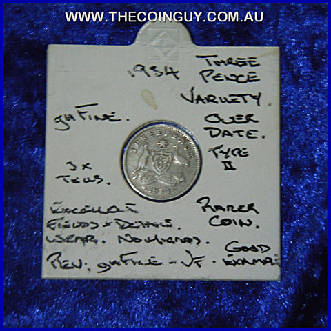 1934/3V Australian Threepences Variety ghFine