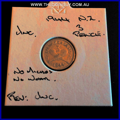 1944 New Zealand Three Pence UNC