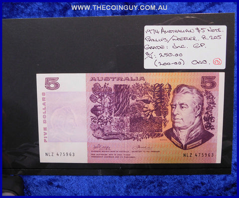 1974 Australian Five Dollar Notes Unc