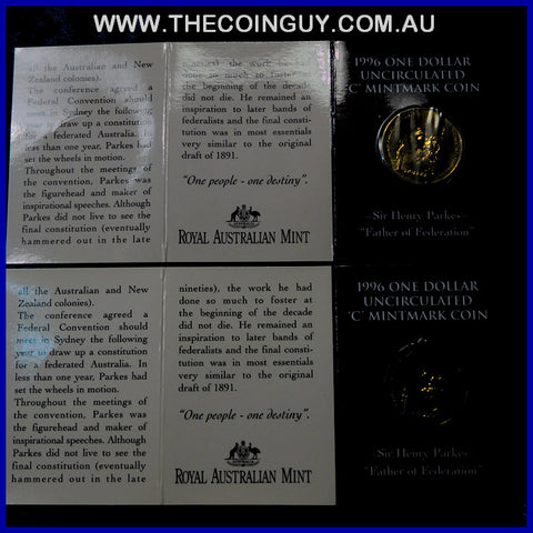 1995 Australian $1 Waltzing Matilda C Mint In Folder Carded Specimen