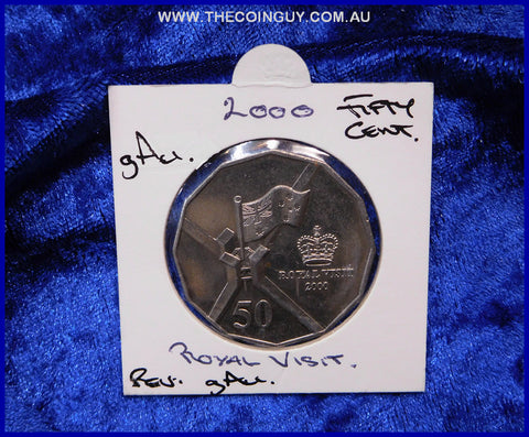 2000 Australian Fifty Cent Coins Royal Visit gAu