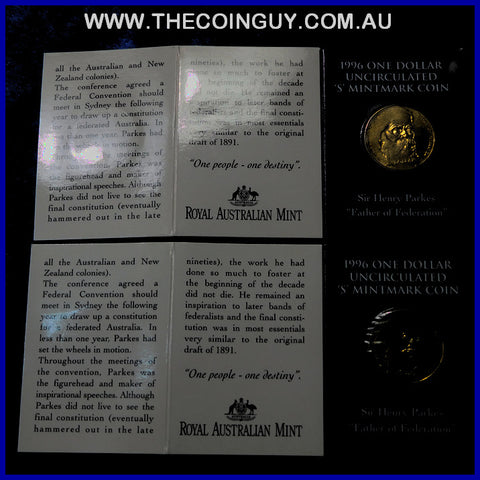 1996 Australian $1 Sir Henry Parkes S Mint In Folder Carded Specimen