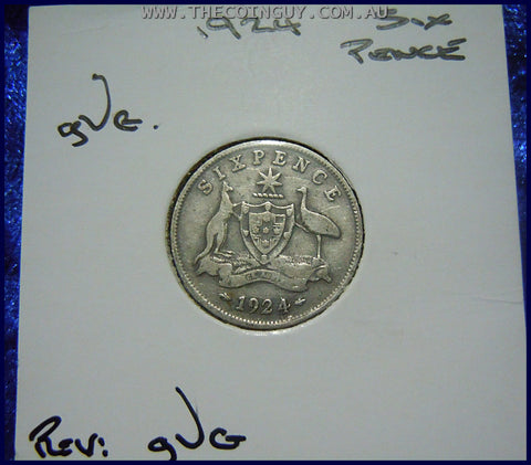 1924 Australian Sixpence gVG