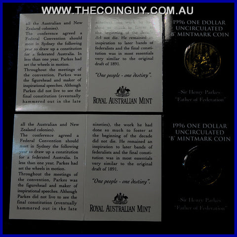 1996 Australian $1 Sir Henry Parkes B Mint In Folder Carded Specimen