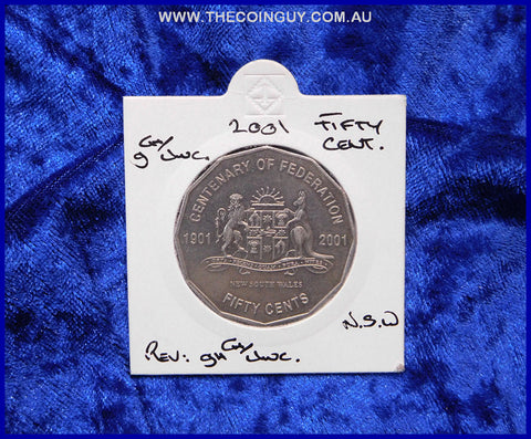 2001 Australian Fifty Cent Coins New South Wales gCh/Unc