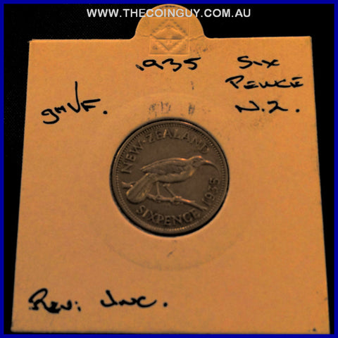 1935 New Zealand Six Pence ghVF