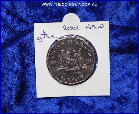 2001 Australian Fifty Cent Coins New South Wales gAu