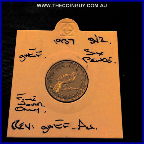 1937 New Zealand Six Pence ghEF