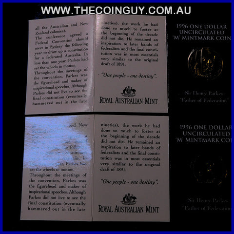 1996 Australian $1 Sir Henry Parkes M Mint In Folder Carded Specimen