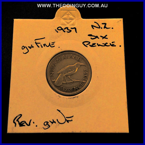 1937 New Zealand Six Pence ghFine