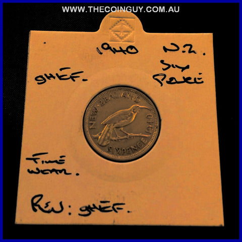 1940 New Zealand Six Pence ghEF
