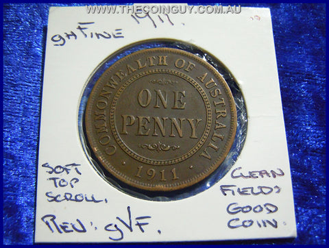 1911 Australian One Penny ghFINE
