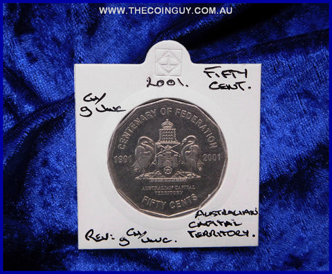 2001 Australian Fifty Cent Coins ACT gCh/Unc