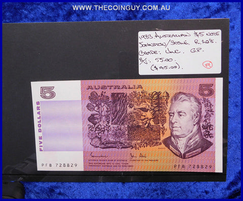 1983 Australian Five Dollar Notes Unc