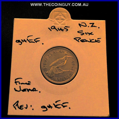 1945 New Zealand Six Pence ghEF