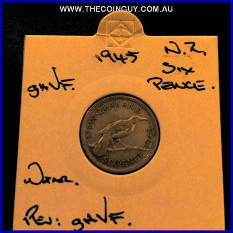 1945 New Zealand Six Pence ghVF