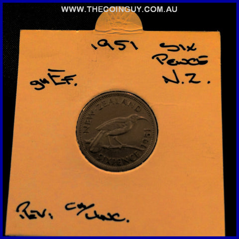 1951 New Zealand Six Pence ghEF